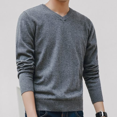 Sweater Men 2019 Autumn Casual Pullovers Men V-Neck Solid Cotton Knitted Brand Clothing Slim Fit Male Sweaters Pull Homme