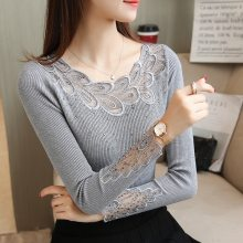 2019 Spring ladies Knitted shirt long-sleeved Women Sweater Korean Style Slim Sexy Patchwork embroidery lace Pullovers Sweater