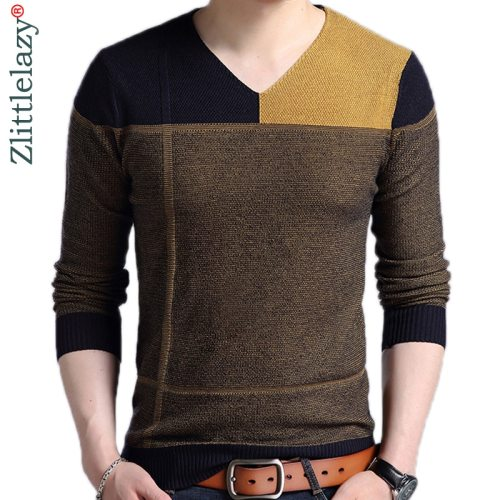 2019 new designer pullover patchwork men sweater dress jersey knitted sweaters mens wear slim fit knitwear fashion clothing 3129