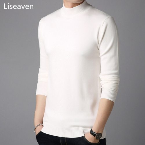 Liseaven Men Cashmere Sweaters Full Sleeve Pull Homme Solid Color Pullover Sweater Men's Tops