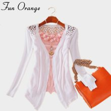Fun Orange New Summer Fashion Women Lace Sweet Candy Color Crochet Hollow Out Knitwear Blouse Full Sweater Cardigan Open Stitch