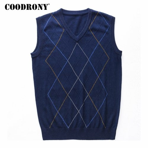 COODRONY Casual Argyle V-Neck Sleeveless Vest Men Clothes 2019 Autumn Winter New Arrival Knitted Cashmere Wool Sweater Vest 8174