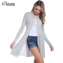 iClosam 2019 Women Casual Cardigan Knitted Open Front Long Sleeve Mid-Length Warm Cardigan Sweater Air-conditioned Rooms Wear