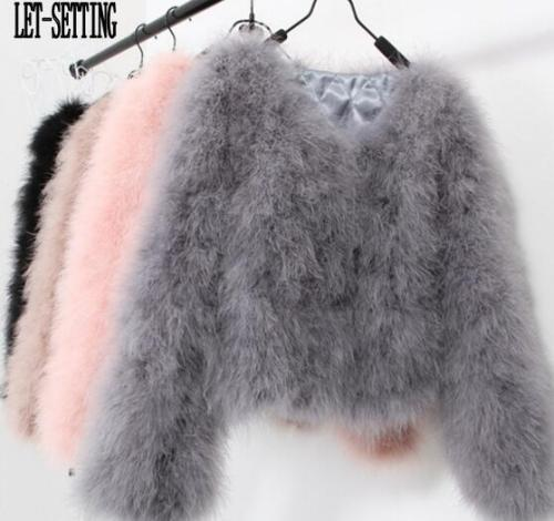 LET-SETTING sexy Ostrich wool turkey real fur women coat genuine feather short plus size 7XL winter festival long sleeve jacket