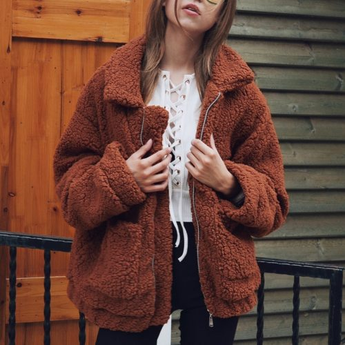 Women Thick Warm Fur Lambswool Jacket Autumn Winter Zipper Coat Turn-down Collar Pocket Casual Outerwear Camel Hairy Overcoat