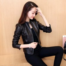 Personality Women Leather Jacket Single  Washed PU Leather Motorcycle Jacket PIMKIE Jacket Slim Female Soft Leather Large black