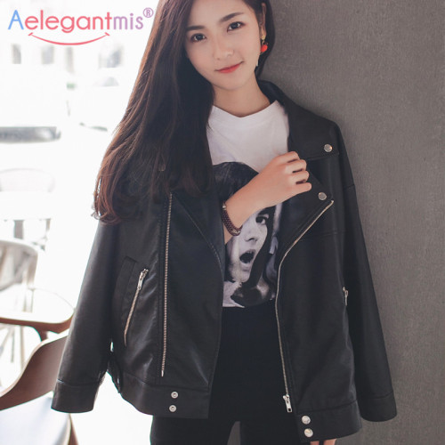 Aelegantmis Women Loose Faux Leather Jacket Classic Retro Rivet Moto Biker Jacket Ladies Basic Coat Plus Size Girl Outerwear