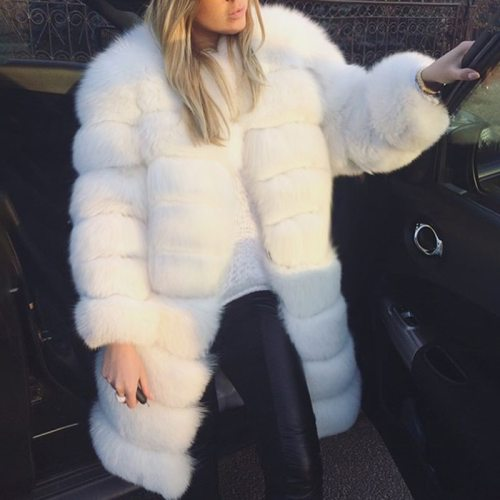 White Thick Warm Fur Long Sleeve O-neck Jacket Winter Fashion Women Faux Fur Furry Coat Outerwear Overcoat Plus Size 3XL