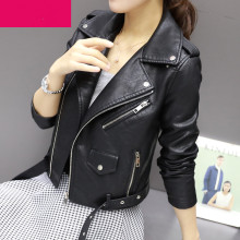 Autumn Winter Street Women's Short Washed PU Leather Jacket Zipper Bright Colors Ladies Basic Jackets