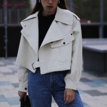 White Oversized Faux Leather Jacket Women Short Moto Biker Zip Coats chaqueta Blazer PU Jack jaqueta couro cuir chaqueta mujer