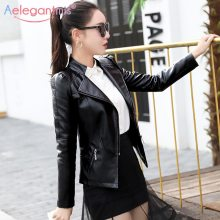 Aelegantmis 2019 Brand New Faux Leather Jacket Women Slim PU Moto Biker Jacket Coat Autumn Winter Lady Basic Outerwear Black