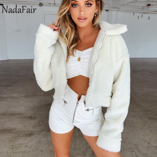 Nadafair Winter Faux Fur Coat Women Autumn Thick Plus Size Fluffy Teddy Coat Female Pockets Plush Jacket Overcoat Outerwear