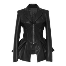 2018 Gothic  faux leather PU Jacket Women Winter Autumn Fashion Motorcycle Jacket Black faux leather coats  Outerwear Coat HOT