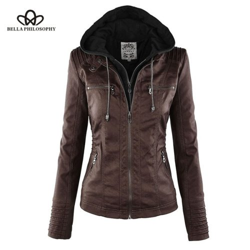 Bella Philosophy Moto Jacket women Zipper coat Turn Down Collor Ladies Outerwear faux leather PU female Jacket Coat