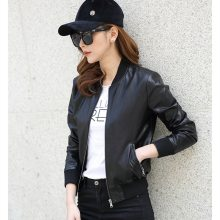 2018 New Spring Women Motorcycle Faux PU Leather Black bomber Jacket female  Short student biker Coat ladies' leather jackets
