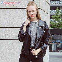 Aelegantmis 2019 Brand New Soft PU Faux Leather Jackets Women Loose Biker Motorcyle Jacket Black Lady Spring Autumn Outerwear