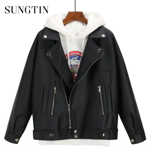 Sungtin Soft Loose PU Leather Jacket Women Black Biker Motorcycle Coat Short Faux Leather Streetwear Female Punk Boyfriend Style