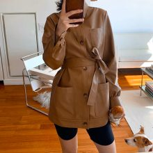 Casual Women Long Leather Coat Casual Ladies PU Leather Motor Jacket Vintage Female Faux Leather Trench for Autumn Winter