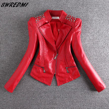 SWREDMI 2019 New Fashion Red Motorcycle Leather Jacket Women Rivet Zippers Biker Leather Coat Plus Size S-3XL Suede Outerwear