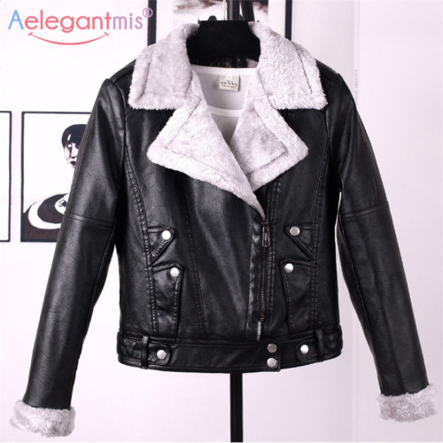 Aelegantmis Autumn Winter Leather Jacket Women Faux Fur Coat Ladies Slim Short Motorcyle Biker Jacket Basic Warm Plush Outerwear
