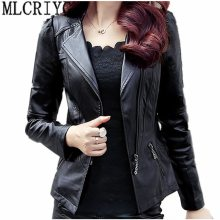 2019 Spring Autumn PU Leather Jacket Women Soft Faux Leather Coat Short Slim Black Motorcycle Jackets Plus Size 5xl 6xl YQ103