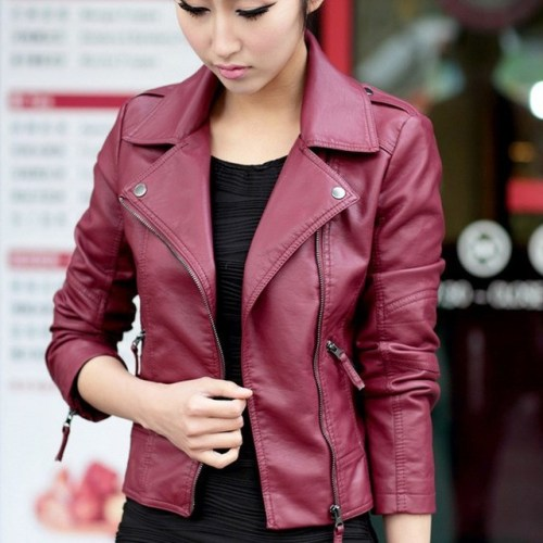 New Autumn Women's Jacket Red Black Pu Leather Jacket Coat Jacket Motorcyclist Narrow Daily