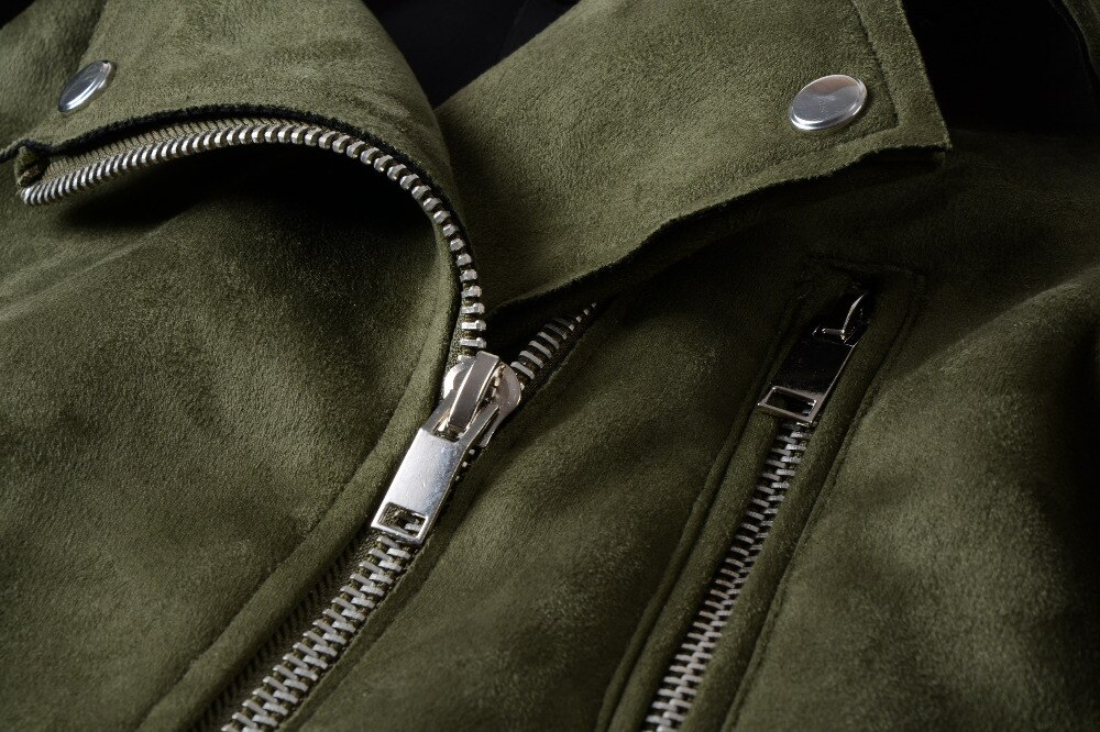 Women Soft Suede Faux Leather  Matte Cute Zippers Belt Jackets and Coats