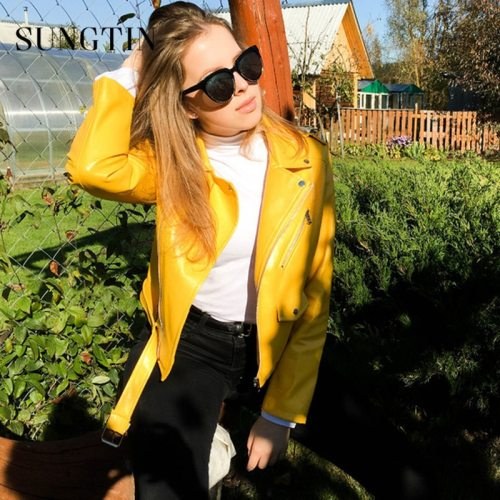Sungtin Brand PU Leather Jacket Women Moto Biker Coat Short Faux Leather Jackets Plus Size Female Streetwear Fashion Outerwear