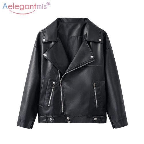 Aelegantmis New Loose PU Faux Leather Jacket Women Classic Moto Biker Jacket Spring Autumn Lady Basic Coat Plus Size Outerwear