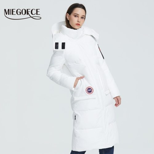 MIEGOFCE 2019 New Winter Coat Women's Parka Loose Cut Length Below Knee Jacket With Pockets Casual Style Resistant Collar Hooded