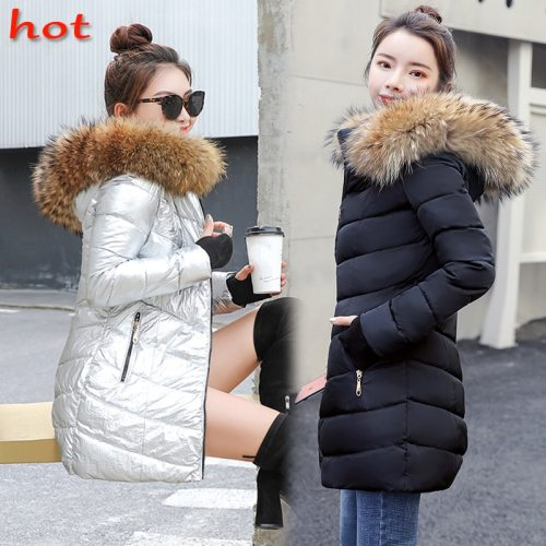 winter jacket women and coats 2019 Parkas for women Wadded Jackets warm Outwear With a Hood Large Faux Fur Collar