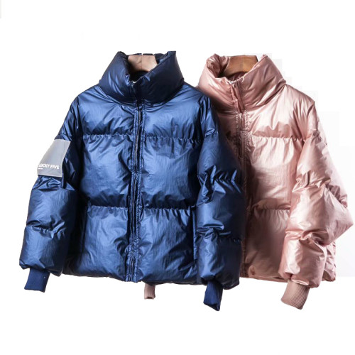 2019 Winter Glossy Down Parka women's jackets large sizes Winter Warm Blue Thick Parka Loose Coat Winter Women  Jacket Outerwear