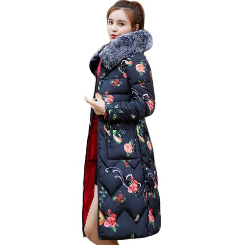 Both Two Sides Can Be Wore 2019 New Arrival Women Winter Jacket With Fur Hooded Long Padded Female Coat Outwear Print Parka