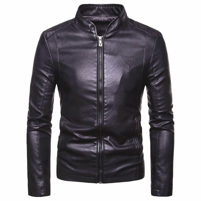 Men 2019 Autumn New Motorcycle Causal PU Leather Warm Jacket Coat Men Spring Fashion Masculinas Windproof Jacket Overcoat Men