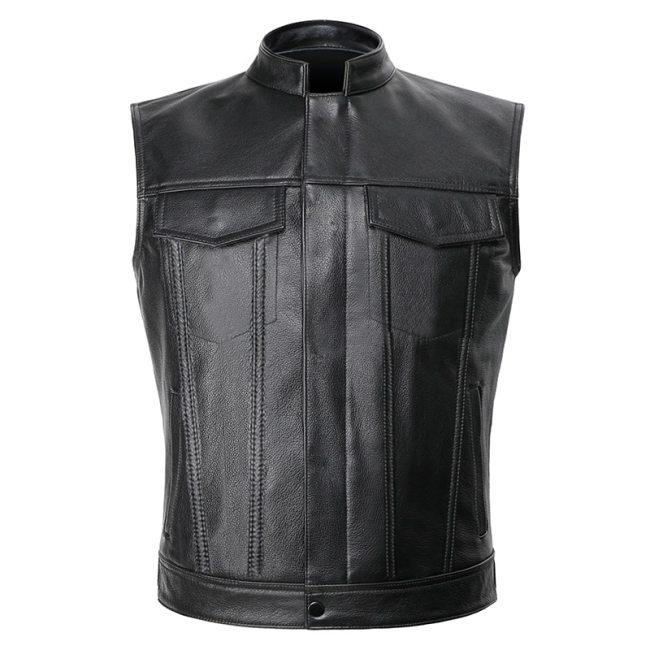 Sons of Anarchy Leather Jacket Vest Men Motorcycle Spring Jackets SOA Punk Black Motorrad Gilet