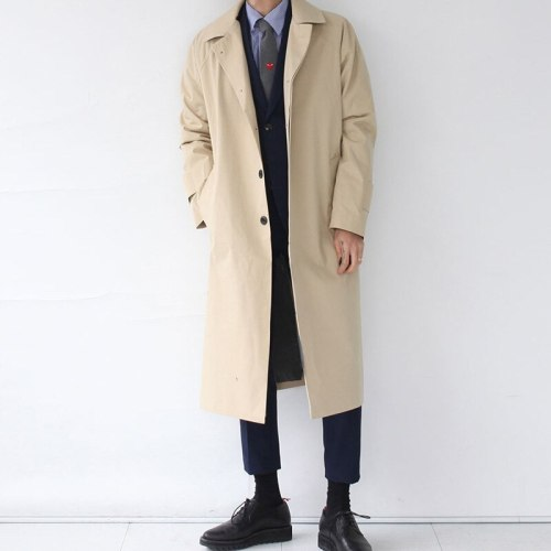 Japan Style Mens Trench Coat 2019 Fashion Designer Long Windbreaker Autumn Winter Single Breasted Windproof Overcoat Plus Size