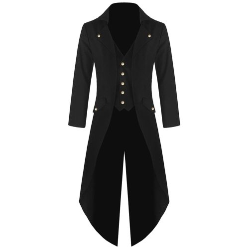 Adult Men Victorian Costume Black Tuxedo Fashion Tailcoat Gothic Steampunk Trench Coat Frock Outfit Overcoat Uniform For Men