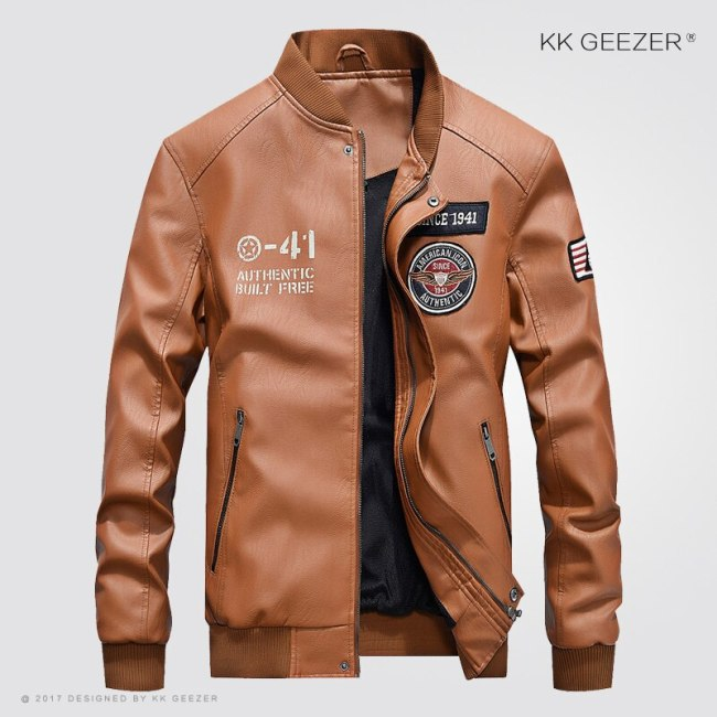Mens Jacket Leather Black Slim Fit Motorcycle 4XL Stand Brown Jackets Coat Autumn Winter Comfort Bomber High Quality Business