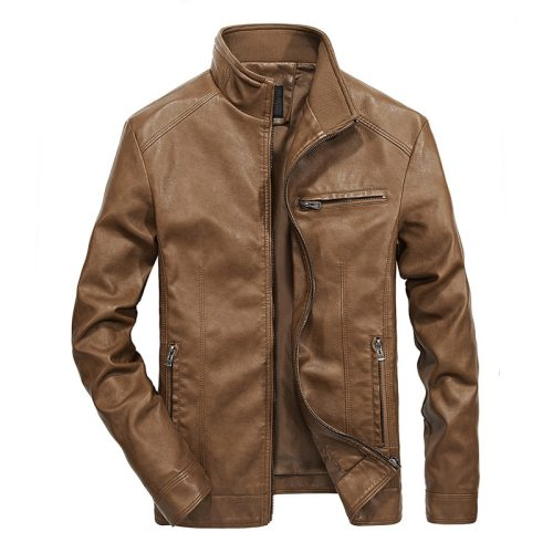 Men's Leather Jackets Stand Collar PU Coat Fashion Male Motorcycle Leather Jacket Casual Slim Fit Mens Brand Clothing 5XL DA027