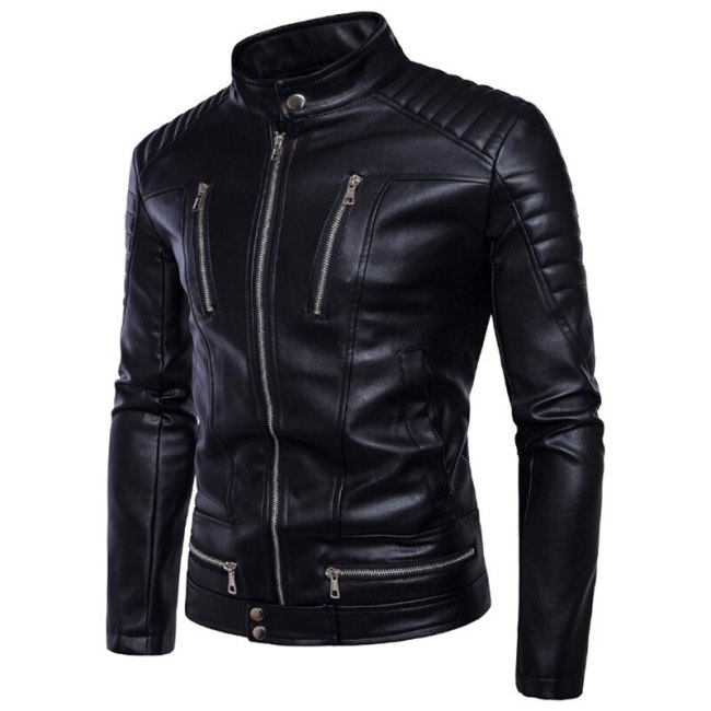 AOWOFS Newest British Motorcycle Leather Jacket Men Classic Design Multi-Zippers Biker Jackets Male Bomber Leather Jackets Coats