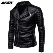 AKSR 2019 Jacket men New Men's Fashion Casual Long Sleeved Motorcycle Fur Leather Jacket Slim Fit Mens Winter Coats