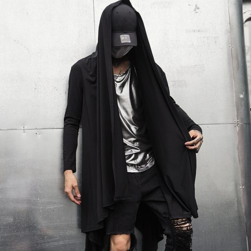 Autumn winter men gotico punk rock trench coat long jacket cloak men vintage black hooded overcoat cardigan gothic style coats