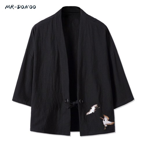 MRDONOO Kimono Chinese style men's retro three quarter sleeve cardigan jacket Han Chinese clothing loose large cotton linen top