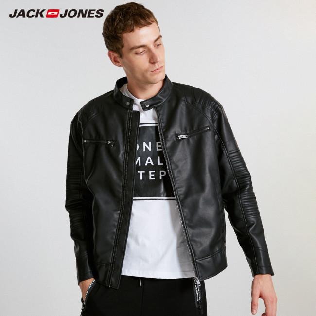 JackJones Men's Hooded PU Leather Jacket Slim fit Casual Coat Fashion Outerwear Biker Hoodies Menswear 218321558