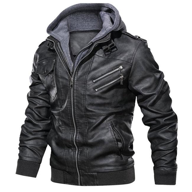 Dropshipping Oblique Zipper Motorcycle Leather Jacket Men Brand Military Autumn Men Pu Leather Jackets Coat European size S-XXXL