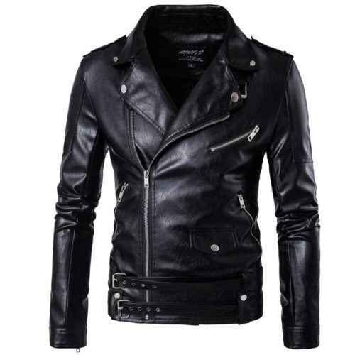 2019 New design Motorcycle Bomber Leather Jacket Men Autumn Turn-down Collar Slim fit Male Leather Jacket Coats Plus Size M-5XL