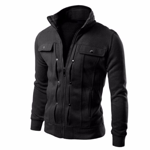 New Fashion Autumn Winter Men Jackets Coat Stand Collar Slim Designed Lapel Zipper Long Sleeve Coats Jacket Men Outerwear