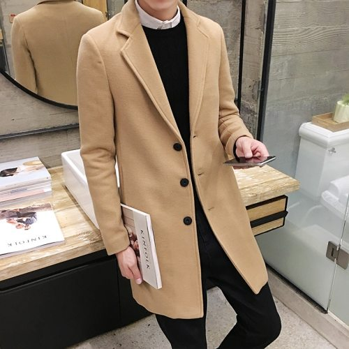 (10 colors) 2019 autumn and winter new men's woolen coat 5XL large size slim long trench coat, fashion slim wild men's jacket