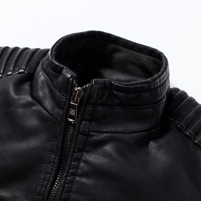 Men Autumn New Motorcycle Causal Vintage Leather Jacket Coat Men Outfit Fashion Biker Zipper Pocket Design PU Leather Jacket Men