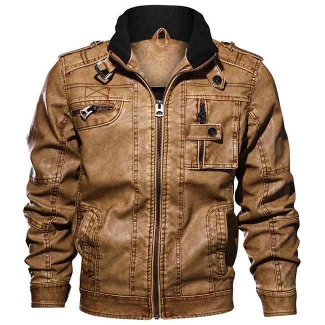 2019 Jackets Men Slim Fit Casual Outwear Bomber Jacket Winderbreaker PU Motorcycle Leather Jackets male new fur coat 6XL 7XL